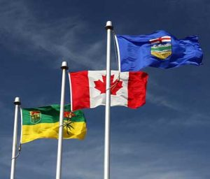 Flags of Saskatchewan, Alberta and Canada