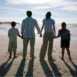 Family together on a beach