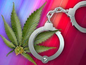 Marijuana leaf & handcuffs